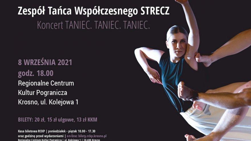 baner plakatu koncertu zespołu tańca współczesnego strecz