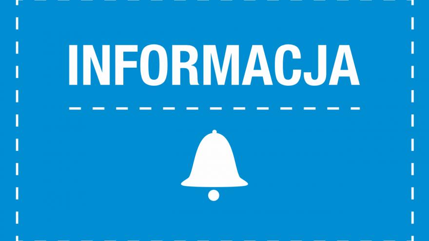 Plansza w kolorze niebieskim z białym napisem informacja, symbolem dzwonu i kreskowanymi liniami.